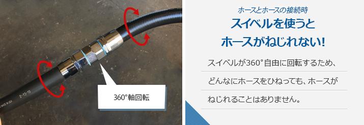 ホースとホースの接続時、スイベルを使うとホースがねじれない!スイベルが360゜自由に回転するため、どんなにホースをひねっても、ホースがねじれることはありません。