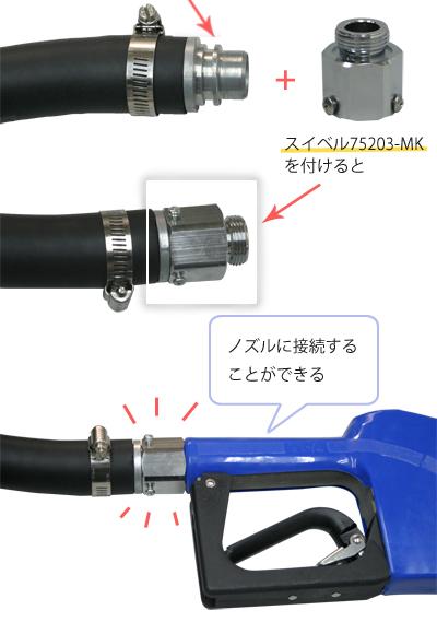 図:スイベル75203-MKを付けて、ノズルに接続